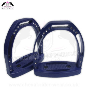 Horse Aluminium Stirrups Crystals CRW-2263 CRY Blue