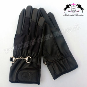 HORSE RIDING GLOVES CRW BLACK