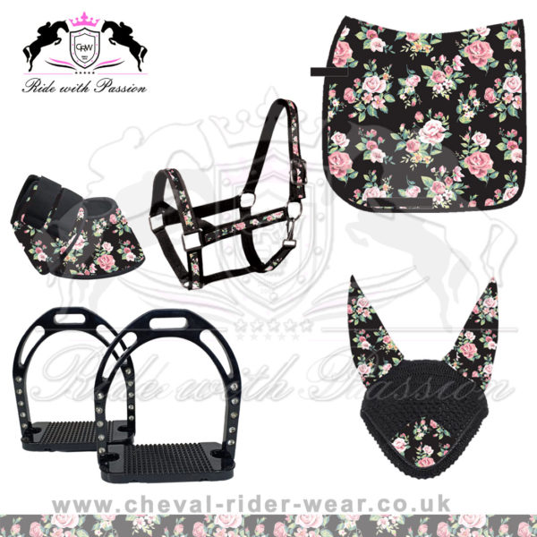 Matching Saddle Pad Sets Black Floral print