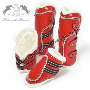 Blingy Set of Tendon Fetlock Boots Faux Sheepskin Lined