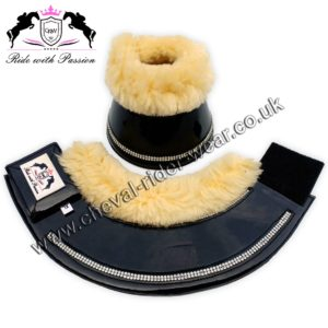 Blingy Horse Overeach Bell Boots Sheepskin Lined Black