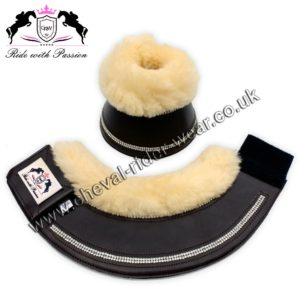 Blingy Horse Overeach Bell Boots Sheepskin Lined