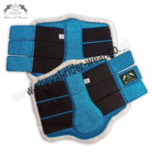 Glitter Horse Brushing Boots Blue Tendon Boots