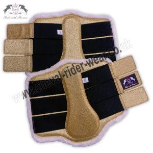 Glitter Horse Brushing Boots Dark Gold Tendon Boots