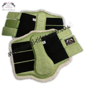 Glitter Horse Brushing Boots Parrot Green Tendon Boots