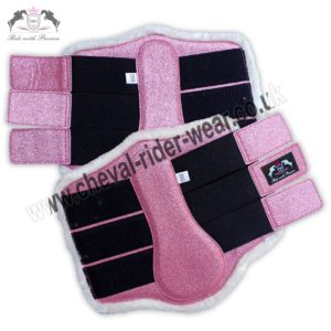 Glitter Horse Brushing Boots Pink Tendon Boots
