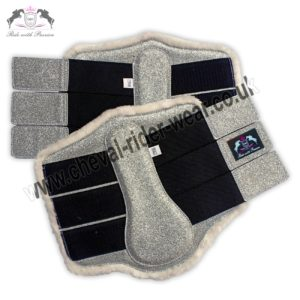 Glitter Horse Brushing Boots Silver Tendon Boots