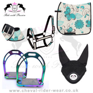 Matching Saddle Pad Sets Turquoise Flowers