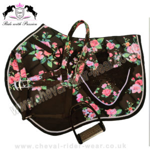 Black Floral Matching Saddle Pad Set CRW