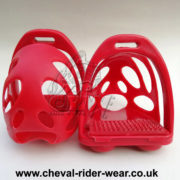 CRW Polymer Safety Toe Cage Stirrups Red