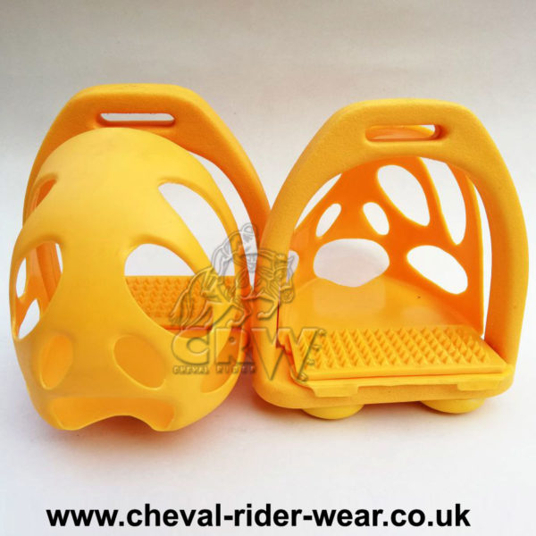 CRW Polymer Safety Toe Cage Stirrups Yellow