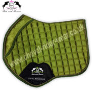Horse Jumping Saddle Pads OliveGreen Satin Saddle Pads CRW-1950