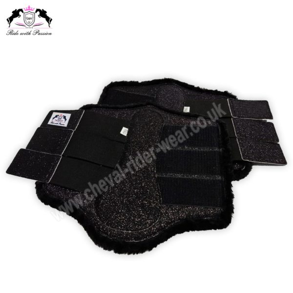 Glitter Horse Brushing Boots Black Sparkle Tendon Boots