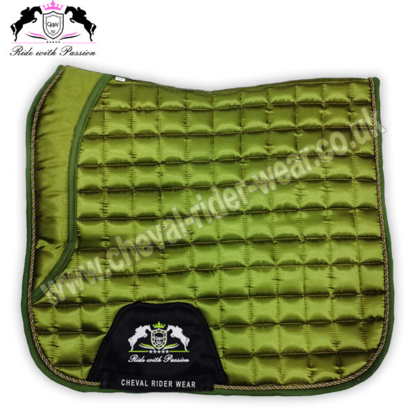 Horse Dressage Saddle Pads Olive Green Satin Saddle Pads CRW-1951