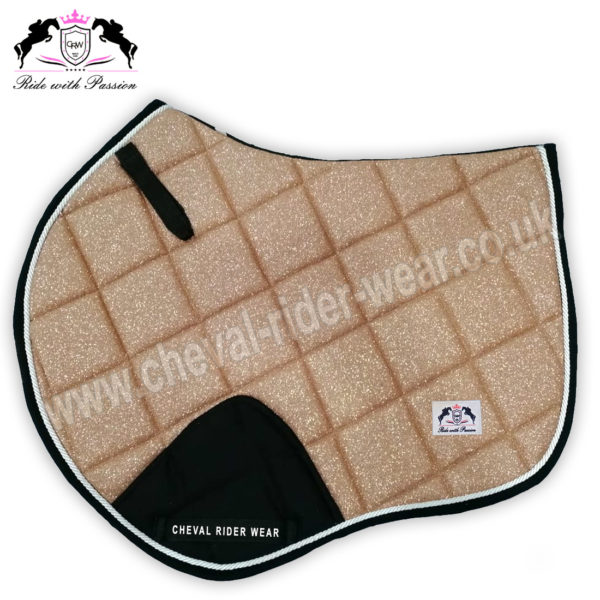 Glitter Saddle Pads All Over Sparkle Jumping Saddle Pads ROSE GOLD CRW