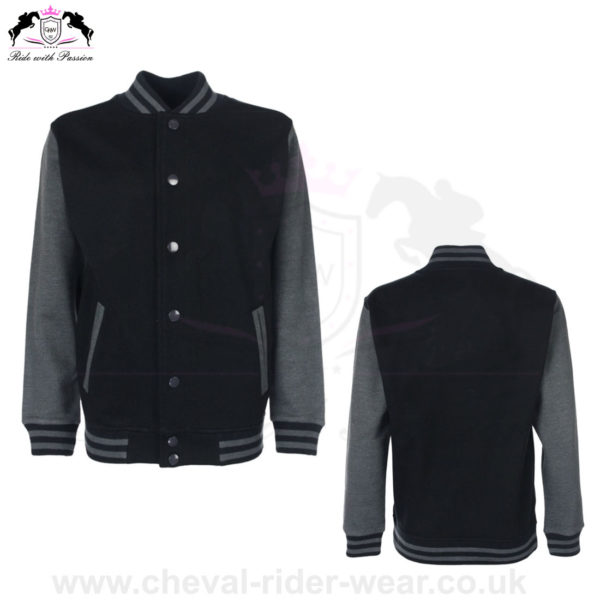 Varsity Jackets Horse Riding CRW-VJS-6035 BlackGrey