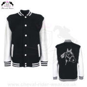 Varsity Jackets Horse Riding CRW-VJS-6035 Black White