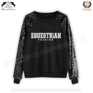 Equestrian Fashion Sweat Shirt Black CRW-SS-102