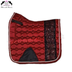 Bling Bling Shiny Satin Saddle Pads Horse Riding CRW-1982 Burgundy