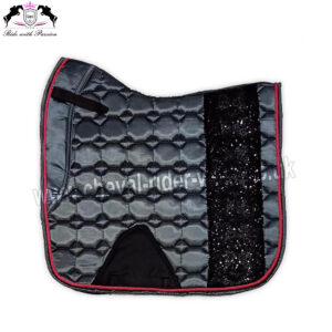 Bling Bling Shiny Satin Saddle Pads Horse Riding CRW-1982 Dark Grey