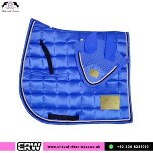 Luxury Satin Matching Saddle Pad Sets CRW-MAT24 Blue